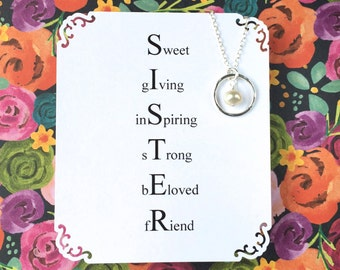 SISTER NECKLACE in Sterling Silver & Genuine PEARL Jewelry for Sisters Gift Wrapped Maid of Honor Matching Sister Necklaces Twin Sister
