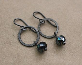 Boho Jewelry, Black Metal Earrings, Bohemian Jewelry, Vintaj Jewelry, Statement Earrings, Black Iridescent Earrings, Wrought Iron Jewelry