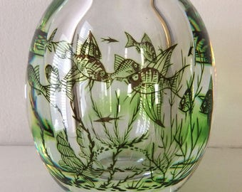 "Orrefors ""Fish Graal"" vase, dated 1963"