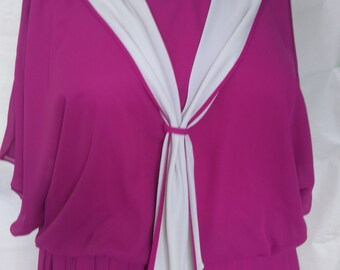 Vintage Size 26 Plus Size Fuchsia Pink Nautical Style Dress