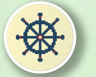 Blue Ship's Wheel Cross Stitch Pattern, Nautical Cross Stitch Pattern, Modern Simple Cute Counted Cross Stitch PDF Pattern Instant Download