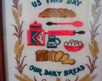"Vintage Framed Embroidery ""Give Us This Day Our Daily Bread"" With Grain Leaves Border,Crewel Embroidered,Vivid Colors,Beautiful"