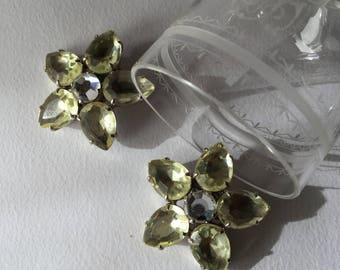 1950 vintage large citrine flower earrings, vintage rhinestones jewels