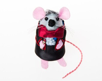 Doctor Who Jon Pertwee Mouse Artisan Ornament gift for dr who fan dad brother uncle husband boyfriend cute felt mouse rat mice hamster