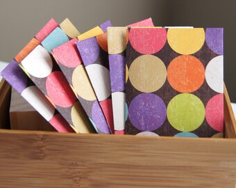 6 Handmade Mini Envelopes Business Gift Card Size . Bold Dots . 2.25 x 3.75
