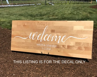 Rustic wedding etsy welcome to our wedding decal rustic wedding decals wedding decor wedding vinyl junglespirit Images
