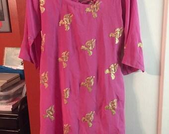 Gorgeous pink & gold renaissance, gypsy, boho, ethnic tunic