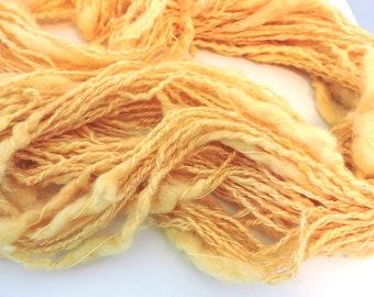Art Yarn Super Bulky Thick and Thin Kid Mohair Merino Yellow 18-4-13