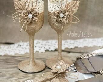 Rustic Wedding Set, Burlap Lace Toasting Flutes & Cake Cutting Set, Champagne Glasses Cake Serving Set, Bride and Groom Toasting Glasses