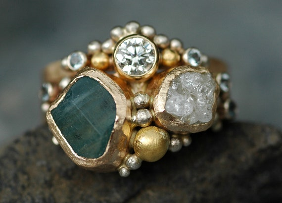 Raw Aquamarine, Rough and Cut Diamond Recycled Gold Stacking Ring Set- Two Custom Made Rings