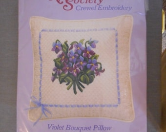 Violet Bouquet Pillow Kit by Needlecrafts Society, Crewel Embroidery- Like New