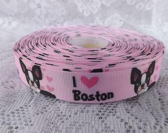 Boston Terrier grosgrain ribbon 7/8 Boston Terrier ribbon