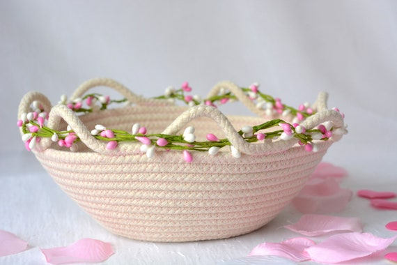 Artisan Basket, Handmade Clothesline Quilted Bowl, Brush Holder, Coiled Fabric Basket, Rustic Natural Raw Rope Decor with Pink thread