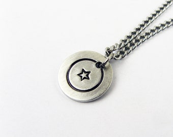 Simple Star Necklace With Celestial Pendant on Steel Chain for Layering - Lucky Jewelry for Everyday