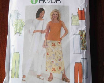 SIMPLICITY 8757 1 Hour Beach Cover-Up Slacks, Pants, Top, Skirt Poncho Sewing Patten size XS S M Sewing Pattern UNCUT