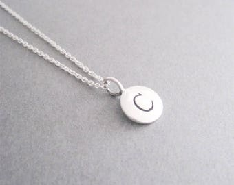 Letter C Necklace, Initial C, Silver Initial C Necklace, C, C Charm