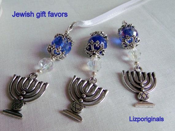 Hanukkah gift set  - judaic  party favors - Menorah  charm - ornaments - ribbon /clasp /set of 3 - memento - Zipper pull - blue gift
