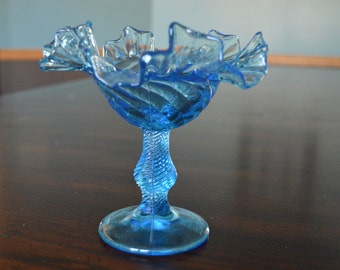"""Vintage light blue  glass compote (5.5"""" tall) swirl pattern"""