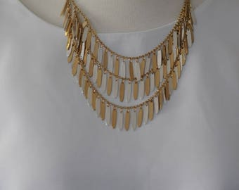 SALE - Bib Necklace, Two toned Feather necklace,  gold and silver plated necklace, gift for her, short necklace, Layered necklace