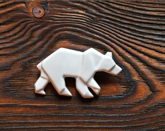 Polar Bear Brooch Origami Brooch Ceramic Brooch Laconic Jewelry Ceramic Pin Ceramic Jewelry