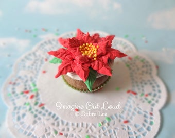 Fake Cupcake Realistic Christmas Holiday Faux Poinsettia Floral Cake