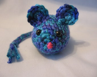 Cat Toy - Catnip Filled Cat Toy - Crochet Cat Toy - Crochet Mouse Cat Toy - Ready to ShipCatnip Filled Multi Colored Blue and Purple Mouse