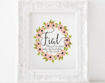 Fiat print, Fiat print, Let it be done print, Marian print, Marina printable, catholic print, catholic printable, catholic decor, catholic