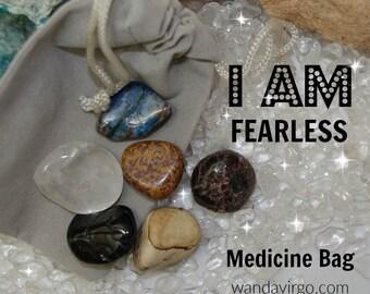 Fearless Crystal Medicine Bag I AM Fearless / Facing Fear/ Phobias / Panic Attacks