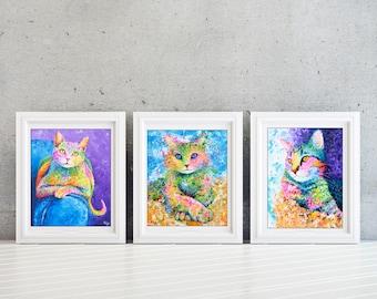 Cat Wall Art Set - Kids Wall Art Set - Girls Room - Kids Room Wall Art Set - Cat Print Set - Cat Lover Gift - Set of 3 Prints