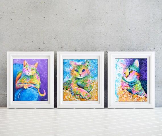 Cat Wall Art - Set of 3 Prints