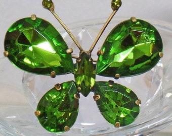 BIG SALE Vintage Large Green Rhinestone Butterfly Brooch.  Green Rhinestone Butterfly Pin.