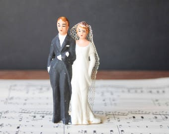 Antique 1920's Bride and Groom Cake Topper, Hand Painted Bisque Wedding Cake Topper