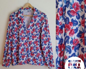 Magenta and Bright Blue Floral Blouse Shirt Top