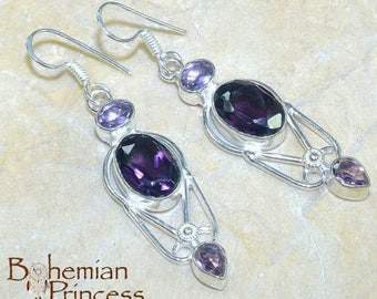 Natural Purple Amethyst Gemstone Earrings, Gift for Her