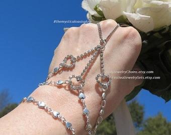 Crystal rhinestone jewelry hand chain, hand piece, hand flower, 3 heart bracelet, wedding bracelet, bridal bracelet, hand chain bracelet