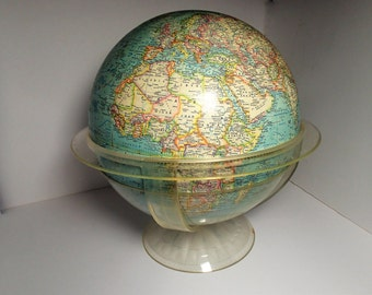 World Globe World Map with geometer on a clear plastic base National Geographic 1962 educational