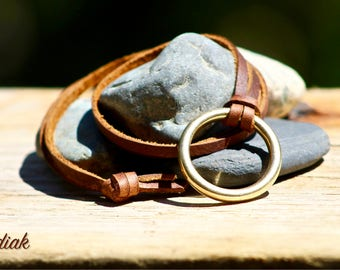 The Leather Lace Necklace with Brass Ring