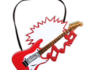 Electric Guitar  Electric Guitar Ornament  Guitar Ornament  Red Guitar  Guitar Gift  Personalized Christmas Ornament