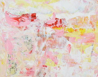 Affordable Home Decor. Abstract Painting. Pink, White, Yellow Abstract Art. Palette Knife Painting. Christmas Gift for Her. Trouvaille