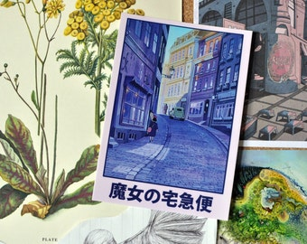 Kiki's Delivery Service - Studio Ghibli - Original Vintage Style Art Postcard