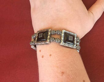 Black and silver double strand stretch bracelet! SHIPS IMMEDIATELY from USA!