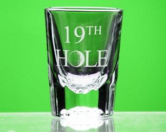 19th Hole shot glass - Golf Gift for Men - gift for her- Groomsmen Gift - gift for golfer - novelty shot glass - celebration - gift for him