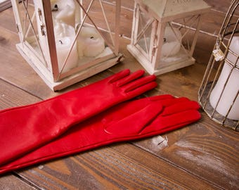 Red opera gloves, long leather gloves, long red leather gloves, leather women gloves