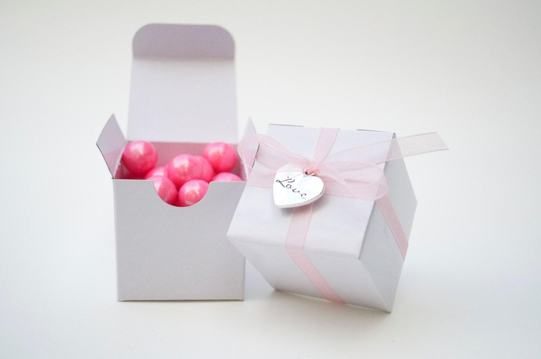 White wedding favor box mini favor box pink favor love
