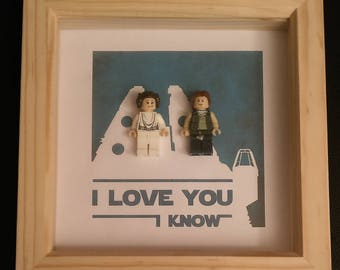 Lego inspired Star Wars I love you Han and Leia framed art