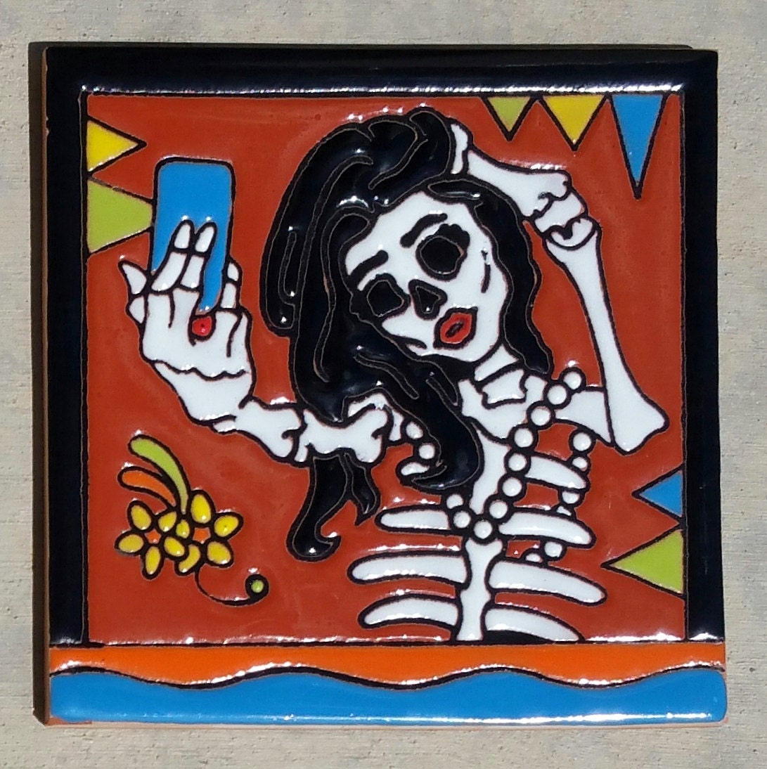 Selfie talavera pottery tile art 6 x 6 inch day of the dead hi 1599 dailygadgetfo Choice Image