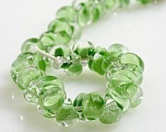 5 Pastel Green Teardrop Handmade Lampwork Beads - 10mm (21268)