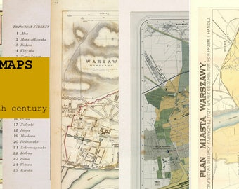 Digital 5 City MAPS Patterns of Warsaw Warszawa 19th century - Download. PRINTABLE map.High resolution map. High quality maps. Large maps