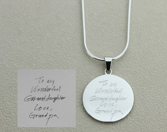 Sterling Silver Light Catching Quality Handwriting Necklace Custom Handwriting Jewelry Signature Disc Necklace Fingerprint Necklace