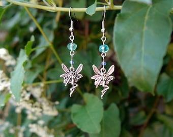 faerie charm earrings- pale blue/aqua fairy drop bead earrings